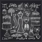 Chalkboard wedding bridal elements set. — Stock Vector