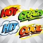 Hot, crazy, hit, cool pop-art symbols. — Stock Vector #67590539