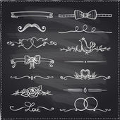 Chalkboard hand drawn graphic elements. — Stock Vector