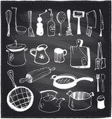 Hand drawn set of kitchen utensils chalkboard. — Stock Vector