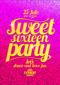 Sweet sixteen party fashion pink poster with gold letters. — Stock Vector