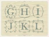 Vintage calligraphic letters in monogram retro frames, alphabet logos — Stock Vector