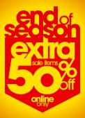 End of season sale extra 50 percent off. — Stock Vector
