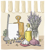 Still life design with vegetables, kitchen utensil, bouquet of lavender and bottle of olive oil — Vettoriale Stock