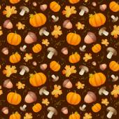 Pattern with leaves, acorns and pumpkins. — Stock Vector