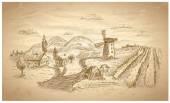 Illustrazione disegnata a mano paesaggio rurale. — Vettoriale Stock