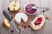 Bread served with camembert and cranberry. — Stockfoto