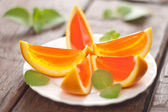Jelly orange slices on a plate. — Stock Photo