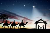 Traditional Christian Christmas Nativity scene with the three wise men. — Stock Photo