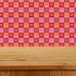 Valentines Design. Empty wooden deck table over hearts motif. Re — Stock Photo #63741191