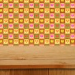 Valentines Design. Empty wooden deck table over hearts motif. Re — Stock Photo #63741229