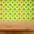 Saint patrick's day. Empty wooden deck table over clover motif.  — Stock Photo #63741515