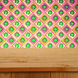 Saint patrick's day. Empty wooden deck table over clover motif.  — Stock Photo #63741561