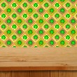 Saint patrick's day. Empty wooden deck table over clover motif. — Stock Photo #63741651