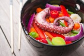 Chinese mix vegetables with pasta and octopus. — Stock Photo