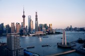 Evening, Shanghai Pudong skyline — Stock Photo