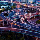 Noite de viaduto em Xangai — Fotografia Stock