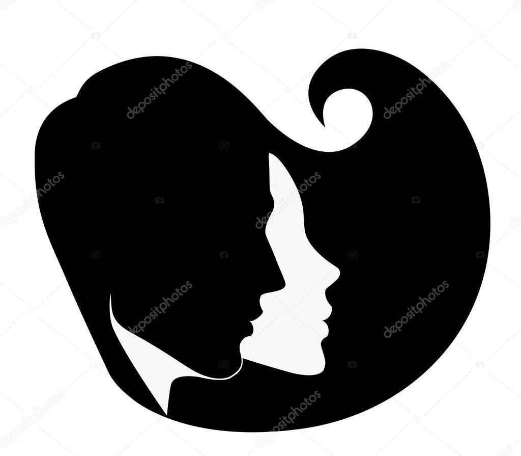 Силуэт головы мужчины и женщины — Векторное изображение ...