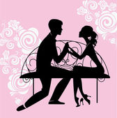 Loving couple at a table — Stock Vector