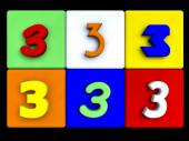 Various numbers 3 on colored cubes — Stock Photo