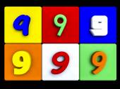 Various numbers 9 on colored cubes — Stock Photo