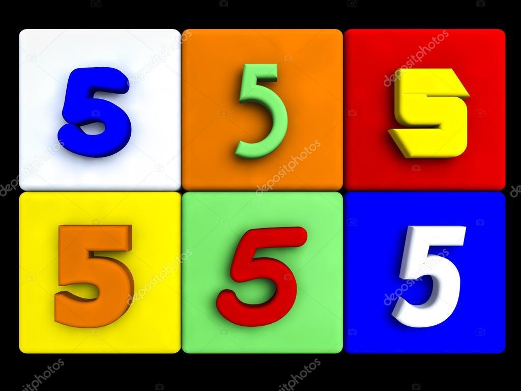 Varios Números 5 Cubos De Colores