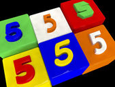 5 different numbers in perspective — Stock Photo