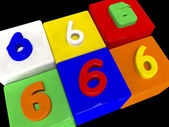 6 different numbers in perspective — Stock Photo