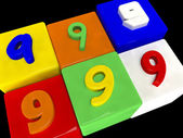 9 different numbers in perspective — Stock Photo