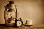 Old lamp with clock — Stock Photo