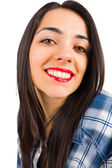 Brunette lady smiling kindly — Stock Photo