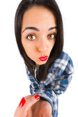 Beautiful girl making duckface — Stock Photo