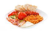 Creative arranged continental breakfast — Stock Photo