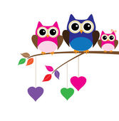 Owl Family — Stock Vector