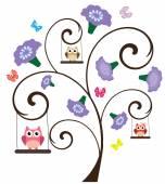Owl Tree — Stock Vector