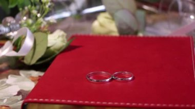 Wedding rings on a red book, surrounded by roses and glasses, dolly — Stock Video