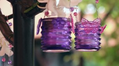 Wedding decoration with purple candles — Video Stock