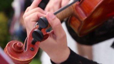 Musicista di strada giocare il violino — Video Stock