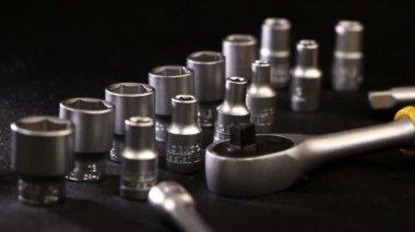 Box with automotive mechanic tools kit — Стоковое видео