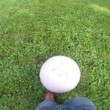 Cute little boy playing with soccer ball supported by his mother — Stock Video #61278981
