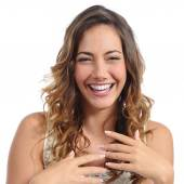 Front portrait of a funny fashion woman laughing hilarious — Stok fotoğraf