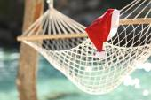Hammock in a tropical beach on christmas holidays — Foto Stock