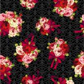 Rose and ribbon pattern, — Vector de stock
