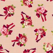 バラとリボンのパターン, — ストックベクタ