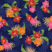 Pattern of Hibiscus — Stock Vector