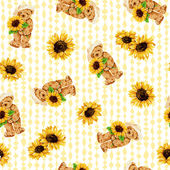 Bär und Sonnenblume — Stockfoto
