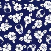 Hibiscus skull pattern — Stock Vector