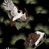 Japanese painting hawk — Stock Photo