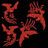 Oriental phoenix — Stock Vector