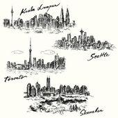 Toronto, Seattle, Kuala Lumpur, Shenzhen — Stock Vector